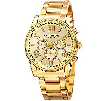 Akribos XXIV Men's Multifunction Tachymeter Stainless Steel Bracelet Watch AK904YG