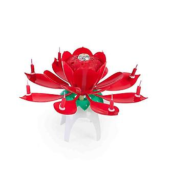 Rose-Shaped Musical Birthday Candle For Cake Decoration Fountain Effect With Music
