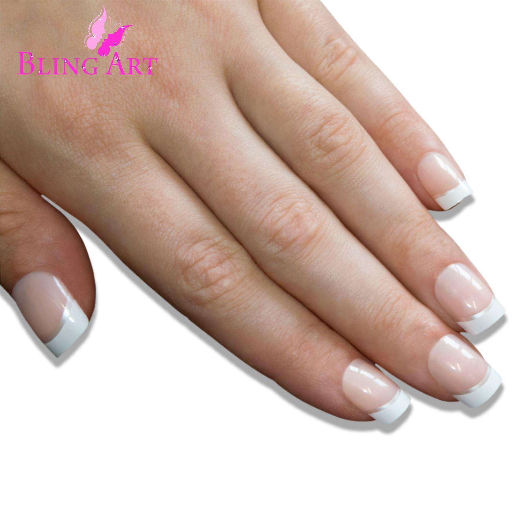 False nails by bling art white silver french manicure fake medium tips with glue