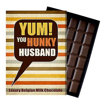 Gift for Husband for Anniversary Birthday or to say Thank You Chocolate Greetings Card Present YUM108