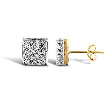 Jewelco London Ladies 9ct Yellow Gold White Round Brilliant Cubic Zirconia 3D Square Shape Stud Earrings