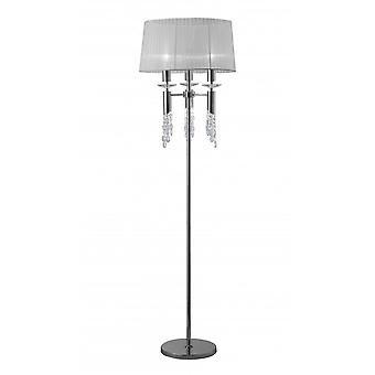 Mantra Tiffany Floor Lamp 3+3 Light E27+G9, Polished Chrome With White Shade & Clear Crystal