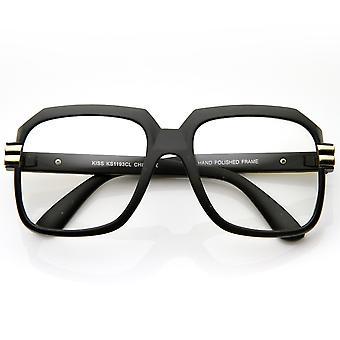 Stor farge belagt kvadrat overdimensjonert Hip Hop klart linsen briller
