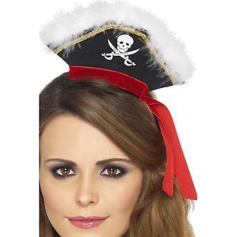 Smiffys Mock cappello da pirata il caschetto nero con Marabou (neonati e bambini, costumi)