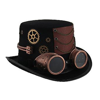 Steampunk Top Hat with Metallic Copper Gears & Removable Goggles