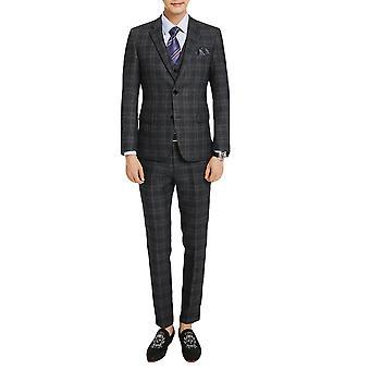 Allthemen Men's Slim Plaid 3-Piece Tuxedos Wedding Business Suits Blazer&Vest&Pants