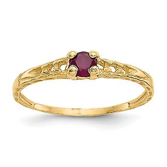 14k Yellow Gold Polished 3mm Ruby for boys or girls Ring - Size 3