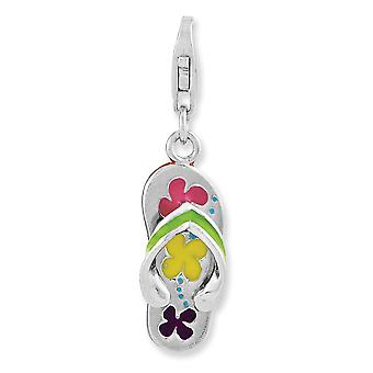 925 Sterling Silver Fancy Lobster Closure Rhodium-plaqué 3-d Enameled Flip-flop With Lobster Clasp Charm