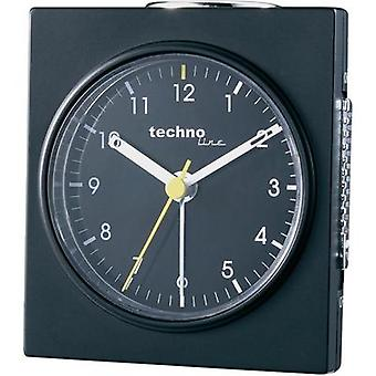 Quartz Alarm clock Techno Line Model Q schwarz Black (matt)