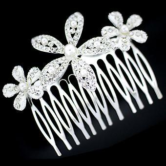 Brud Silver Pearl & Crystal Triple Aster blomma hårkam