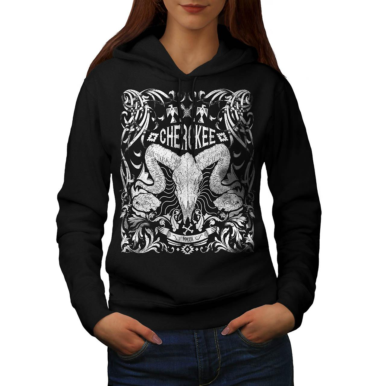 Native Culture Skull Animal Head Women Black Hoodie | Wellcoda