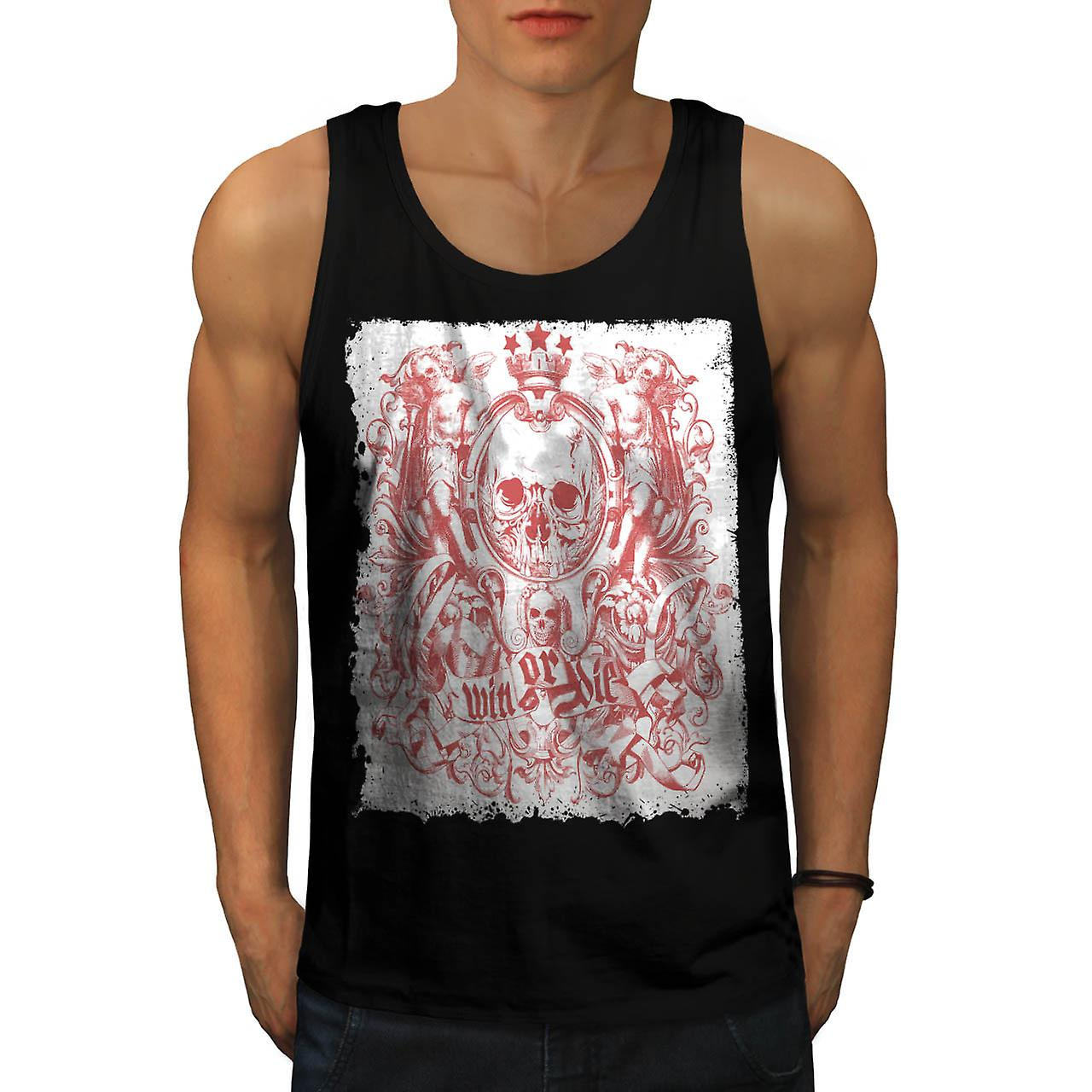 Win sterven dood schedel Royal Crown mannen Tank Top zwart | Wellcoda