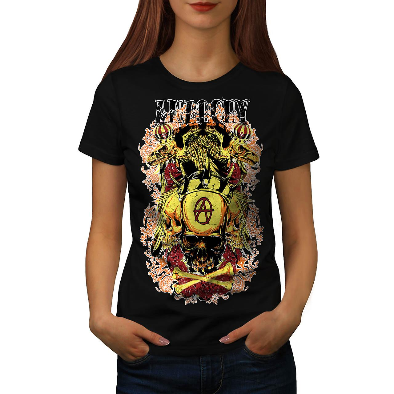 Anarchy Royal Skull Tattoo Head Women Black T-shirt | Wellcoda