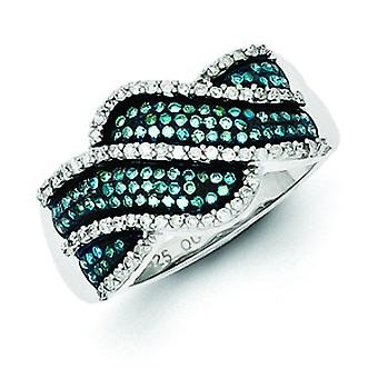 Sterling Silver Blue and White Diamond Ring - Ring Size: 6 to 8