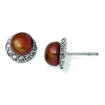 Sterling zilveren CZ chocolade zoetwater Cultured Pearl Stud Earrings