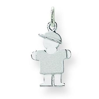 14k White Gold Mini ChildrenBoy Charm - .8 Grams