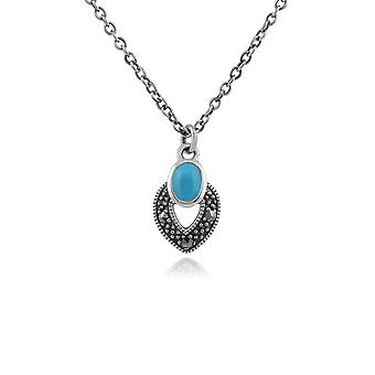 Gemondo Sterling Silver Art Deco Turquoise & Marcasite Necklace