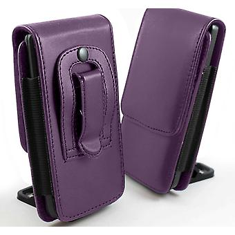 i-Tronixs-TP-LINK Neffos X 1 (5 inch) verticale Faux leder riem Holster Case Cover - paars