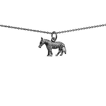 Silver 20x10mm Zebra Pendant with a rolo Chain 24 inches