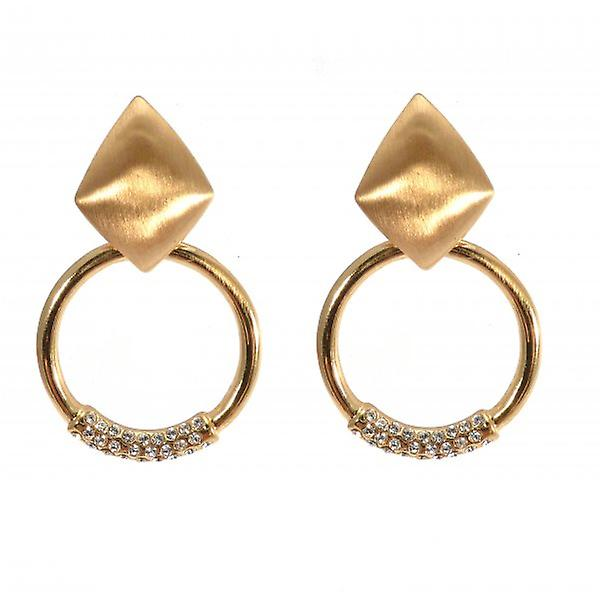 W.A.T Diamond Shape And Gold Style Hoop And Crystal Fashion Earrings