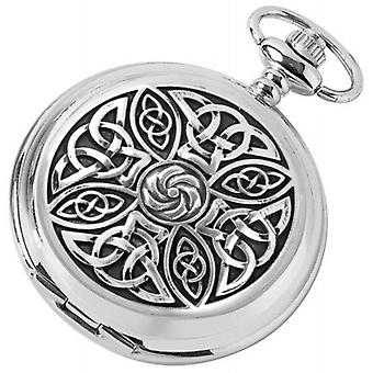 Woodford Celtic Floral Chrome Plated Double Full Hunter Skeleton Pocket Watch - Silver/Black
