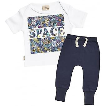 Spoilt Rotten Space Print T-Shirt & Navy Joggers Outfit Set