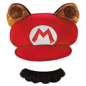 Mario Raccoon Super Mario Nintendo Video Game Mens Costume Kit Hat Moustache