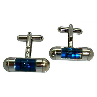 Bassin and Brown Spirit Level Cufflinks - Blue/Silver