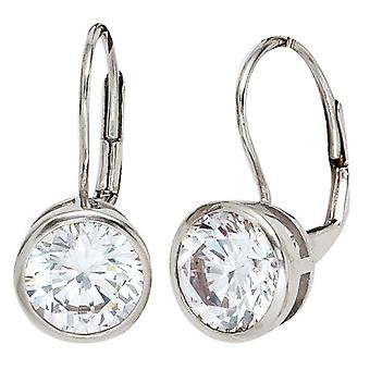 Boutons 925 sterling silver rhodium plated 2 cubic zirconia earrings