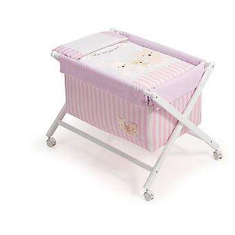 Interbaby Textile Walnut Model minicuna With Love Rosa