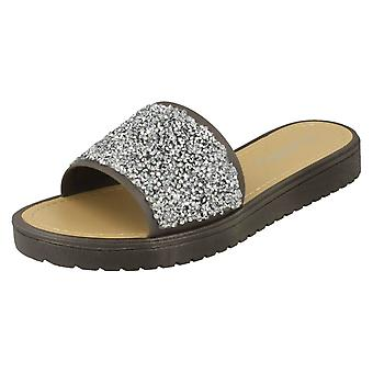 Ladies Open Toe Glitter Front Sandals