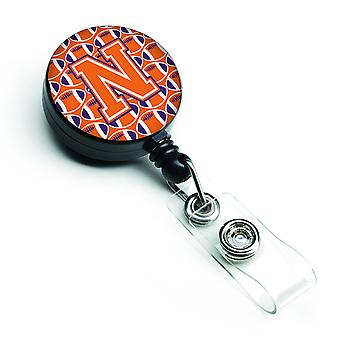 Letter N voetbal oranje, wit en Regalia intrekbare Badge Reel