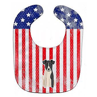 Carolines schatten BB3093BIB patriottische USA Fox Terrier Smooth Fox Terrier Baby slabbetje
