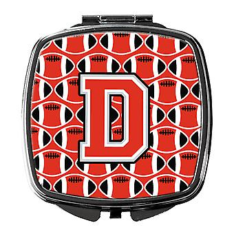 Letter D Football Scarlet and Grey Compact Mirror
