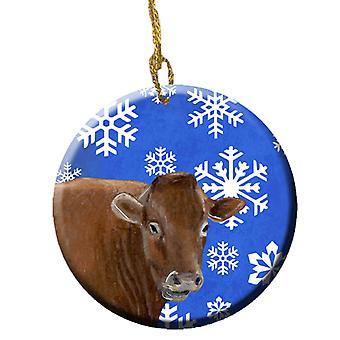 Carolines Treasures  SB3148CO1 Cow Winter Snowflakes Holiday Ceramic Ornament