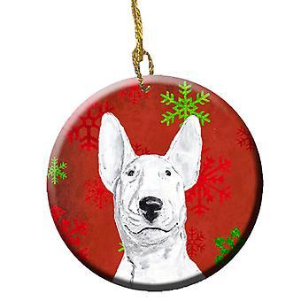 Bull Terrier røde snefnug ferie keramiske Ornament