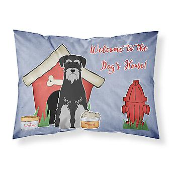 Dog House Collection Standard Schnauzer Black Grey Fabric Standard Pillowcase
