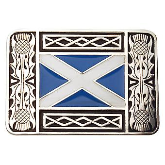 Thistle and Saltire Buckle with Black and Blue Enamel (KB2 CB)