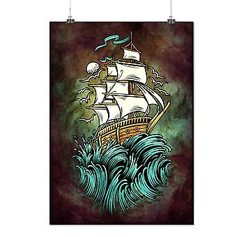 Matte or Glossy Poster with Ship Waves Sail Horror | Wellcoda | *d2758