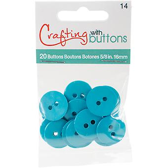Small Color Buttons 20/Pkg-Turquoise 5/8