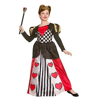 Deluxe Queen of Hearts Childrens Fancy Dress Costume Dress & Crown