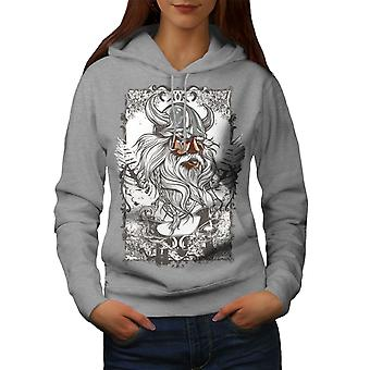 North Warrior Face Women GreyHoodie | Wellcoda