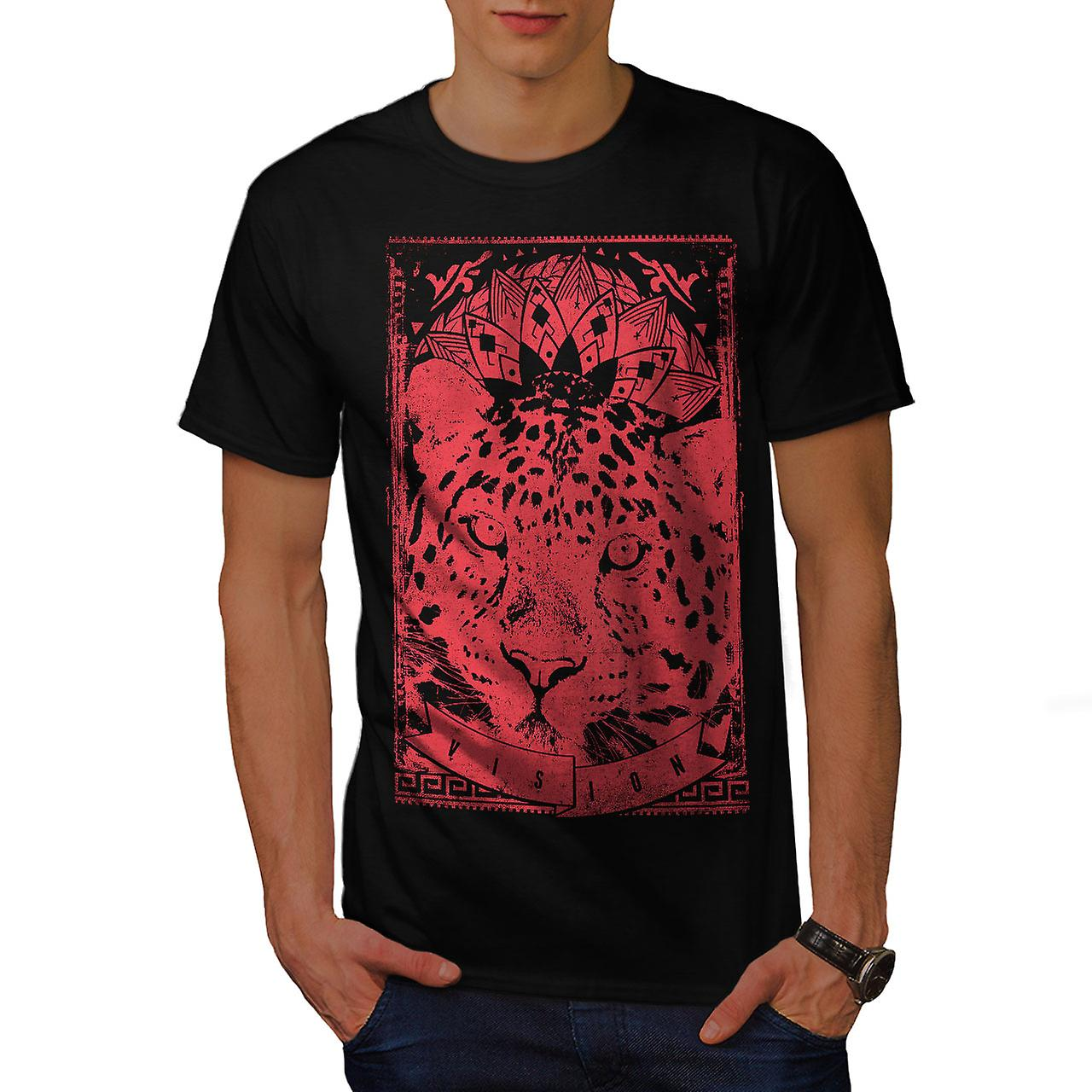 Leopard Vision Animal Men Black T-shirt | Wellcoda