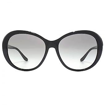 Versace Peaked Oval Sunglasses In Black