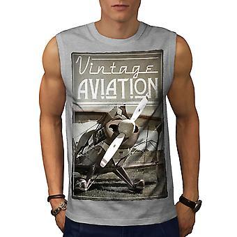 Vintage Aviation Men GreySleeveless T-shirt | Wellcoda