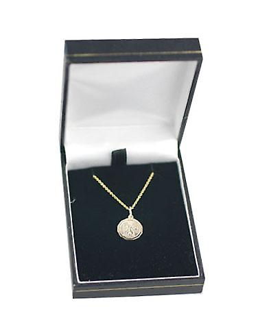 9ct Gold 13x13mm dodecagonal St Christopher Pendant with a cable Chain 18 inches