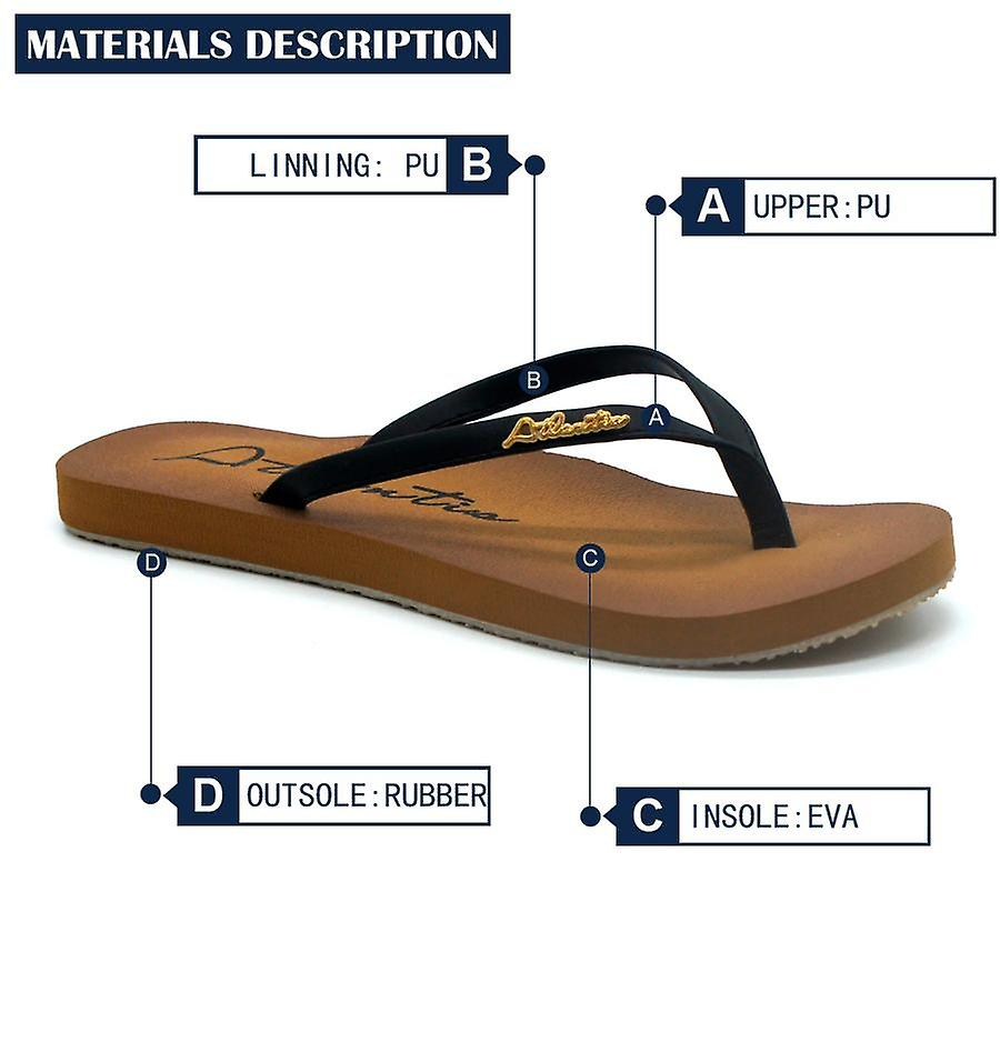 Atlantis Shoes Women Supportive Cushioned Comfortable Sandals Flip Flops Fashion Classic Black