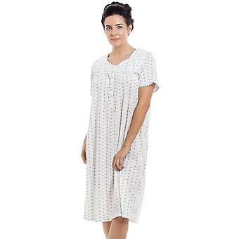 Camille Blue & Grey Floral Pinstriped Short Sleeve Nightdress