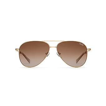 Quay Australia Still Standing Hi Shine Gold Sunglasses With Smoke To Taupe Fade Lens