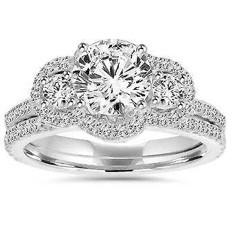 3CT Diamond Engagement Wedding Ring Set 14K White Gold